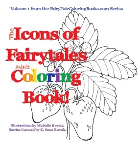 front cover of the icons of fairytales adult coloring book