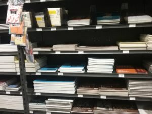 shelves full of art paper